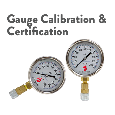 Hose Monster offers the water pressure and flow gauge calibration and certification required to maintain accuracy.