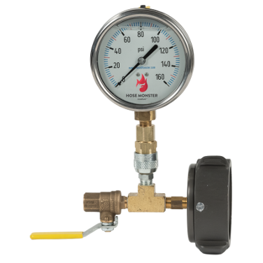 """Hose Monster offers numerous products such as the 2 ½"""" Hydrant Gauge Cap Swivel, with 4″ Analog Gauge right here."""