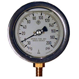 Hose Monster sells water valve and testing equipment such as this 4-inch compound gauge with a 0.5% accuracy rating.