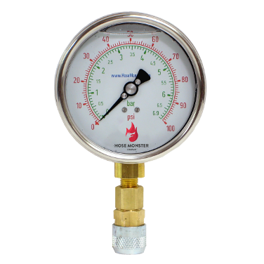 Rated to a 0.5% accuracy rate Hose Monster has 4-inch metric flow rate gauges available.