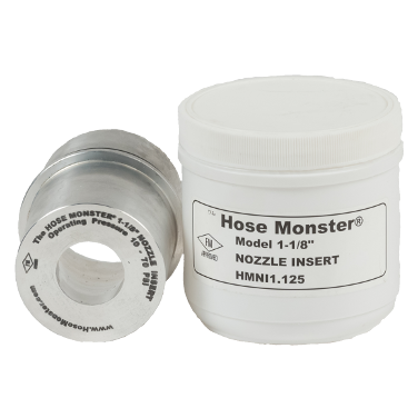 Hose Monster provides this one and one-eighth inch wide nozzle insert to obtain lower flow rates than what is measured.
