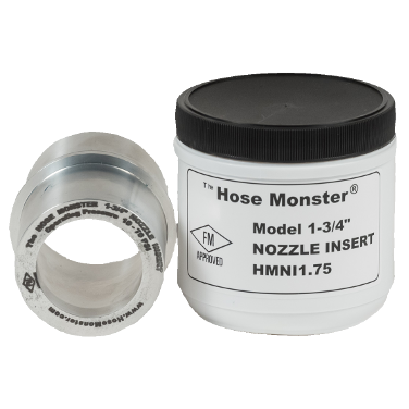 Regulate the water flow using the Hose Monster one and three-quarters inch wide nozzle insert.