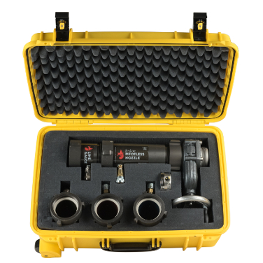 Get all of the pitotless nozzles from Hose Monster in one convenient yellow carrying case for ease of transport.