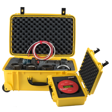View Hose Monster's in-line pitotless nozzle bundle with a yellow case for water pressure test use.