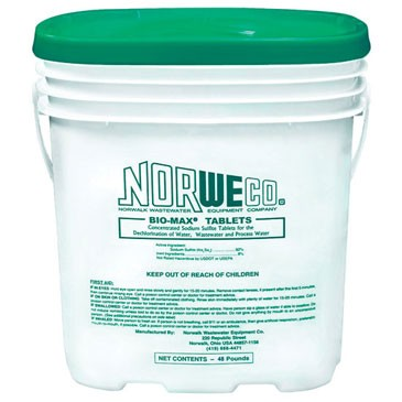 For dechlorination purposes get the Norweco Bio Max tablets in this bucket containing 154 tablets.