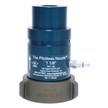 View the Hose Monster brand one and one-eight-wide grooved nozzle for water flow measurement.