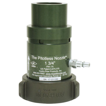 View details about the Hose Monster one and three-quarters-inch wide grooved nozzle to measure water flow.